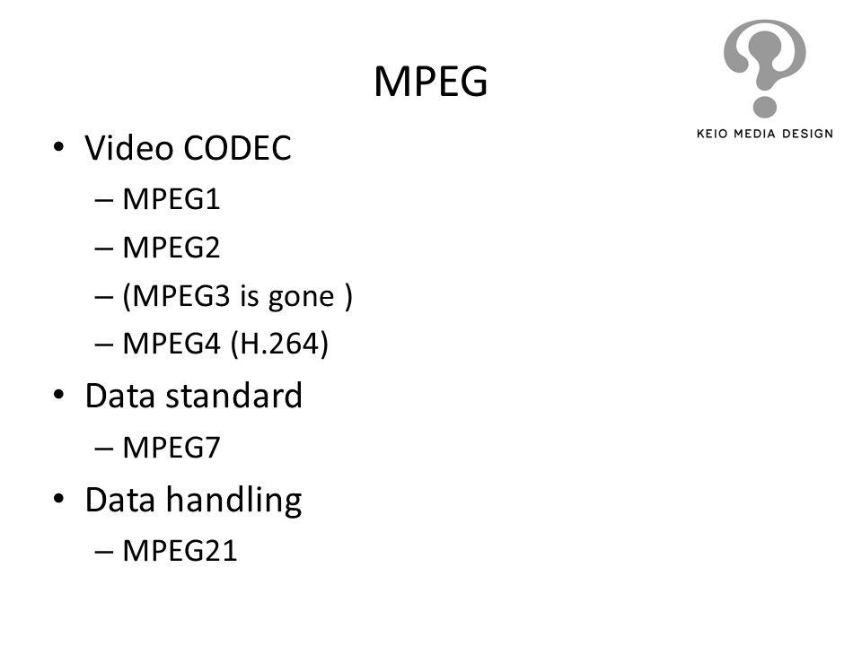 MPEG Video CODEC Data standard Data handling MPEG1 MPEG2
