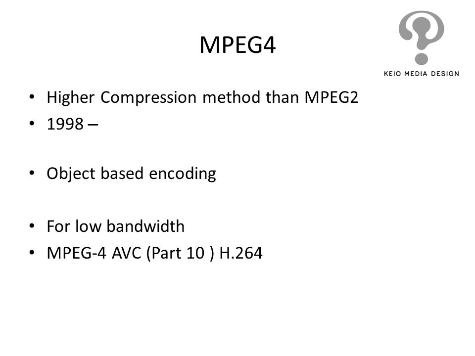 MPEG4 Higher Compression method than MPEG2 1998 –