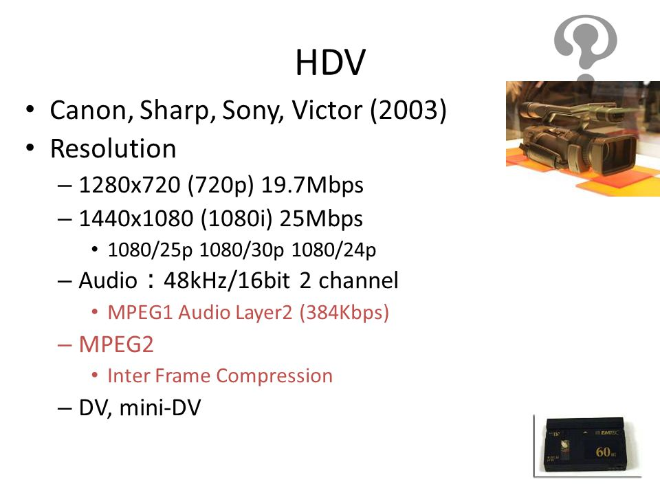 HDV Canon, Sharp, Sony, Victor (2003) Resolution