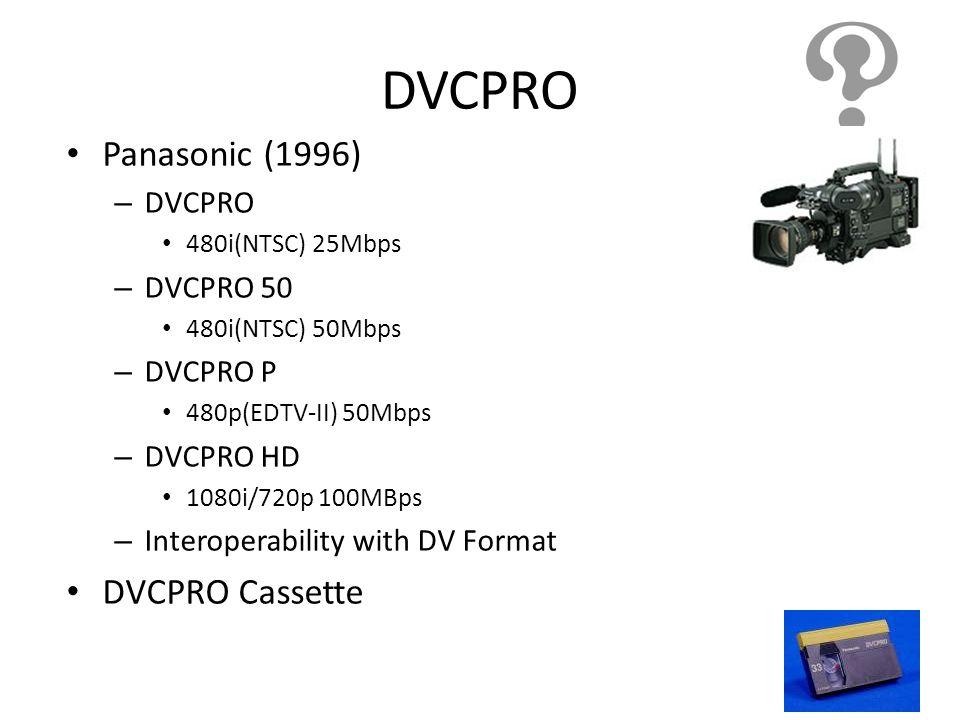 DVCPRO Panasonic (1996) DVCPRO Cassette DVCPRO DVCPRO 50 DVCPRO P