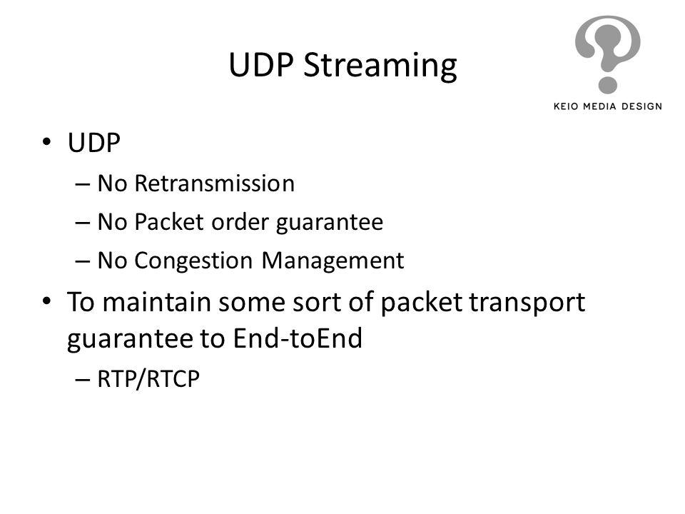 UDP Streaming UDP. No Retransmission. No Packet order guarantee. No Congestion Management.