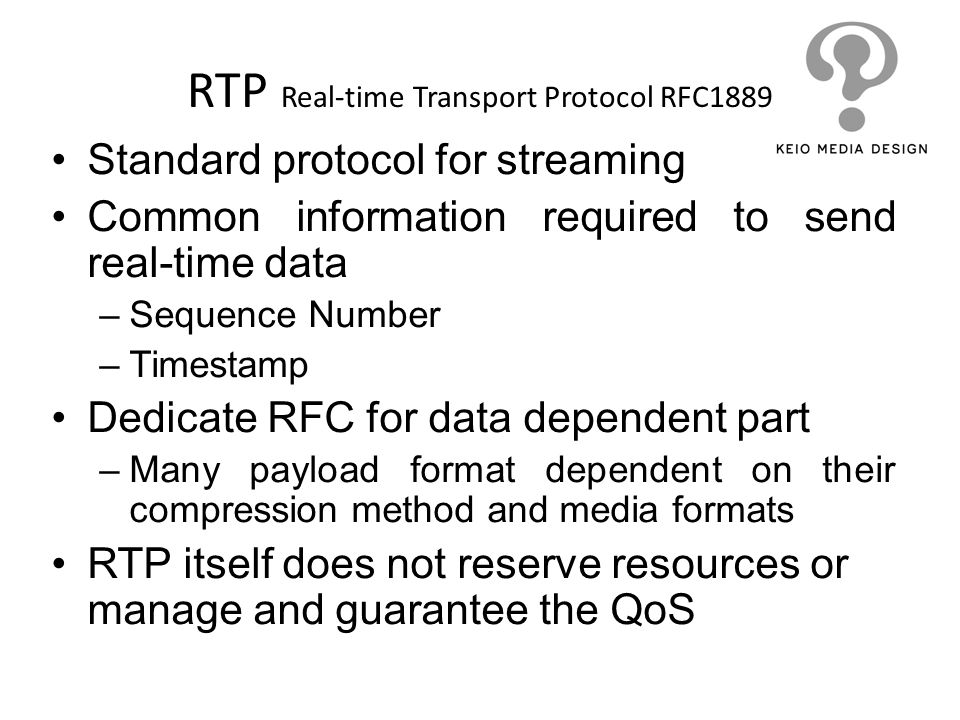 RTP Real-time Transport Protocol RFC1889