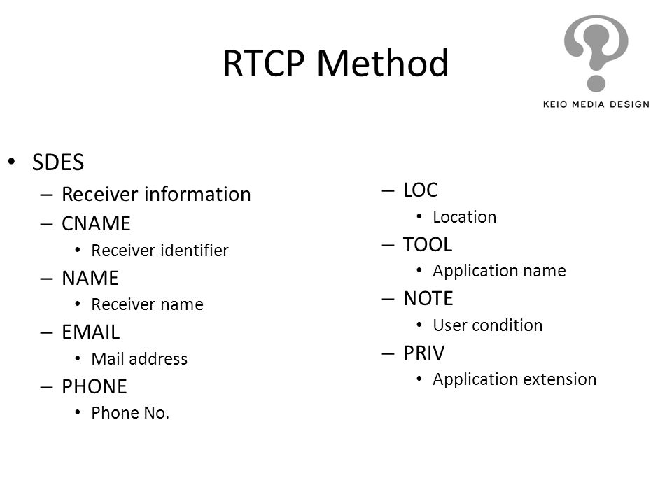 RTCP Method SDES Receiver information LOC CNAME TOOL NAME NOTE EMAIL