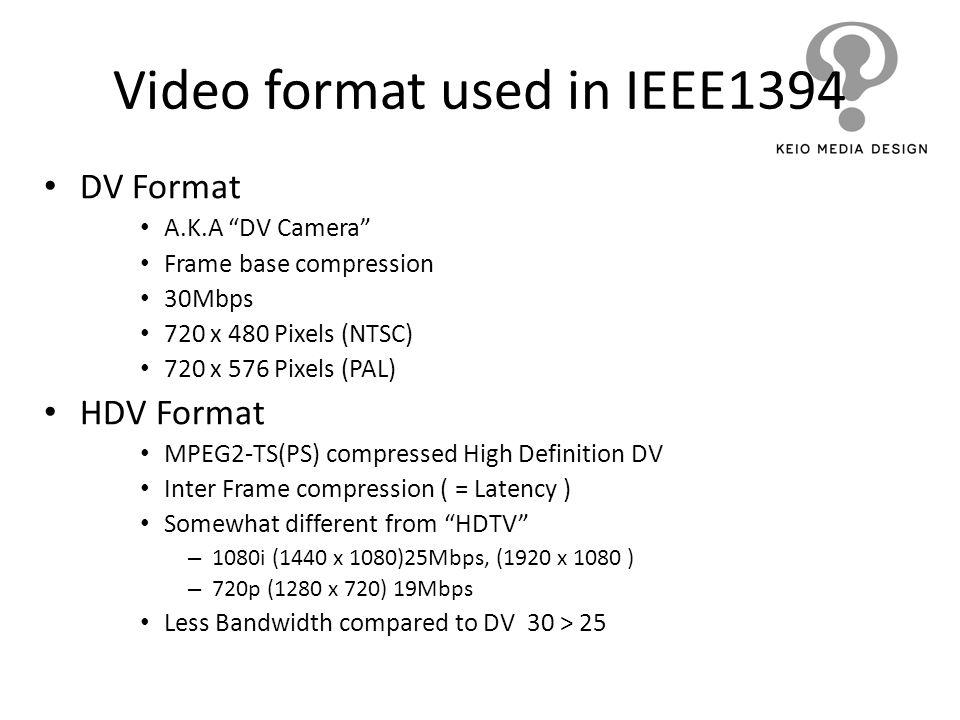 Video format used in IEEE1394