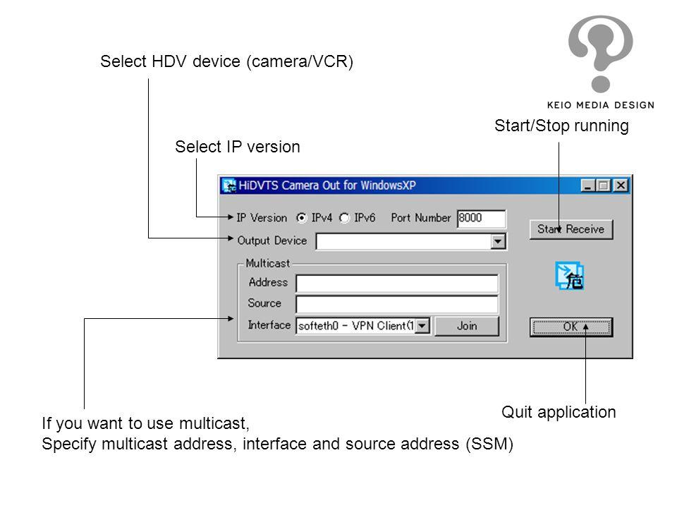 Select HDV device (camera/VCR)