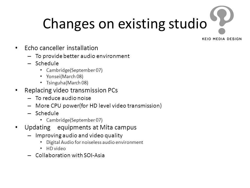 Changes on existing studio