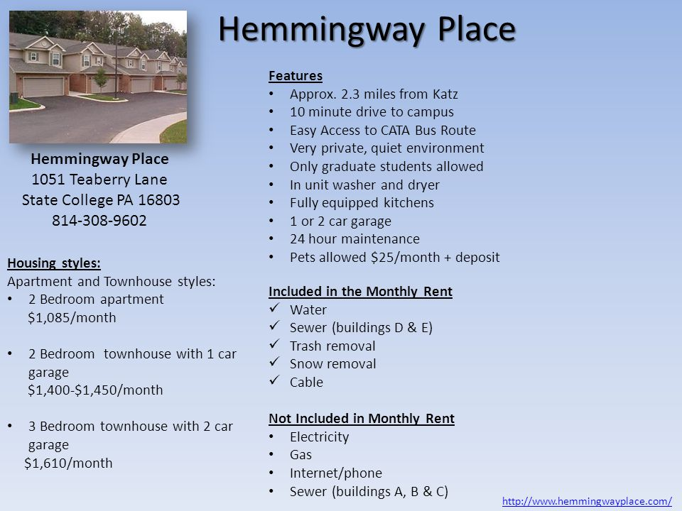 Hemmingway Place Hemmingway Place 1051 Teaberry Lane