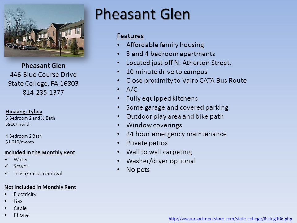 Pheasant Glen Features Affordable family housing