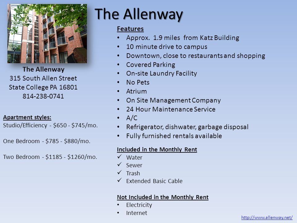 The Allenway Features Approx. 1.9 miles from Katz Building