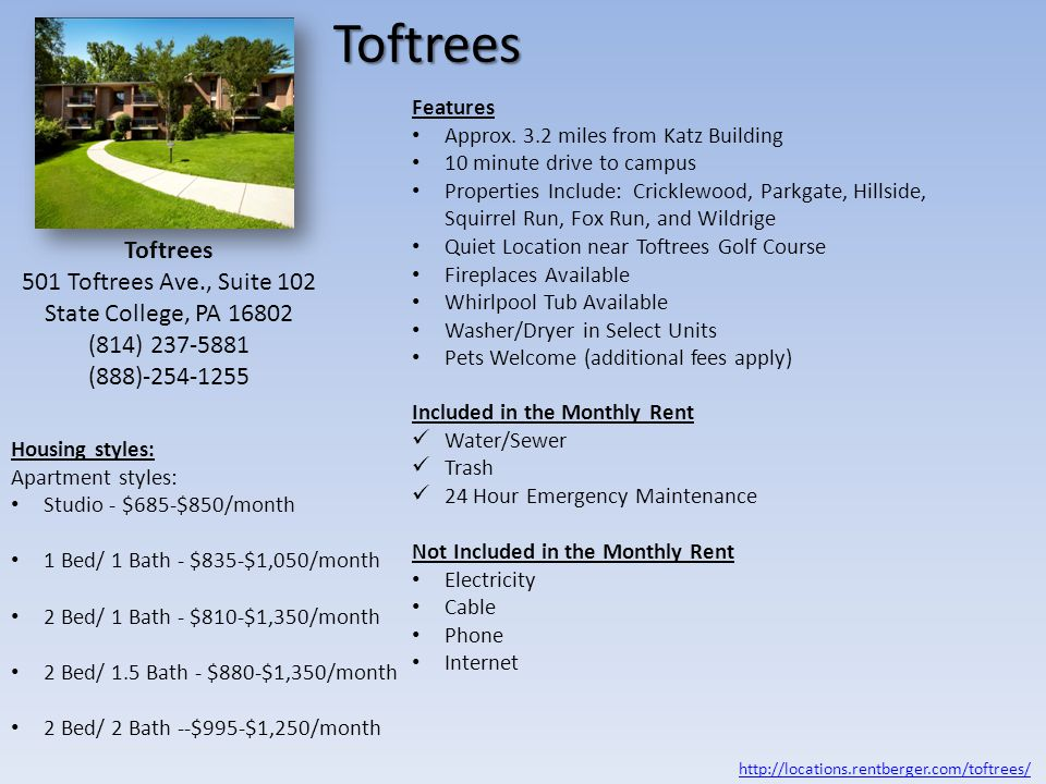 Toftrees Toftrees 501 Toftrees Ave., Suite 102