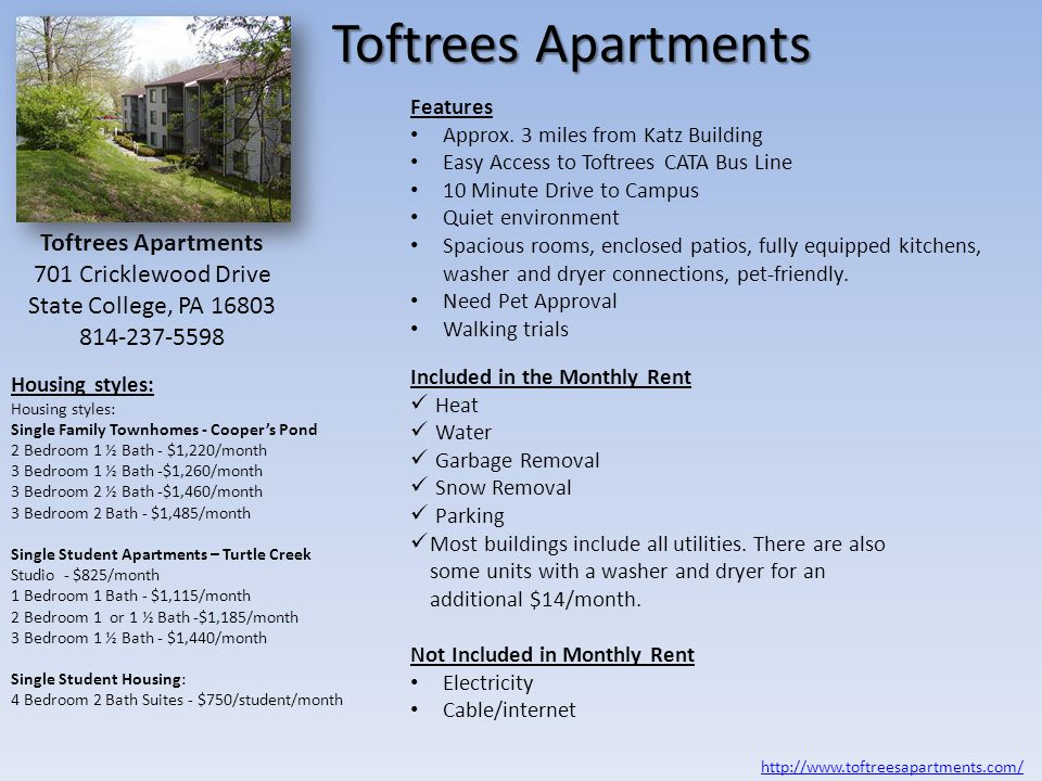 Toftrees Apartments Toftrees Apartments 701 Cricklewood Drive