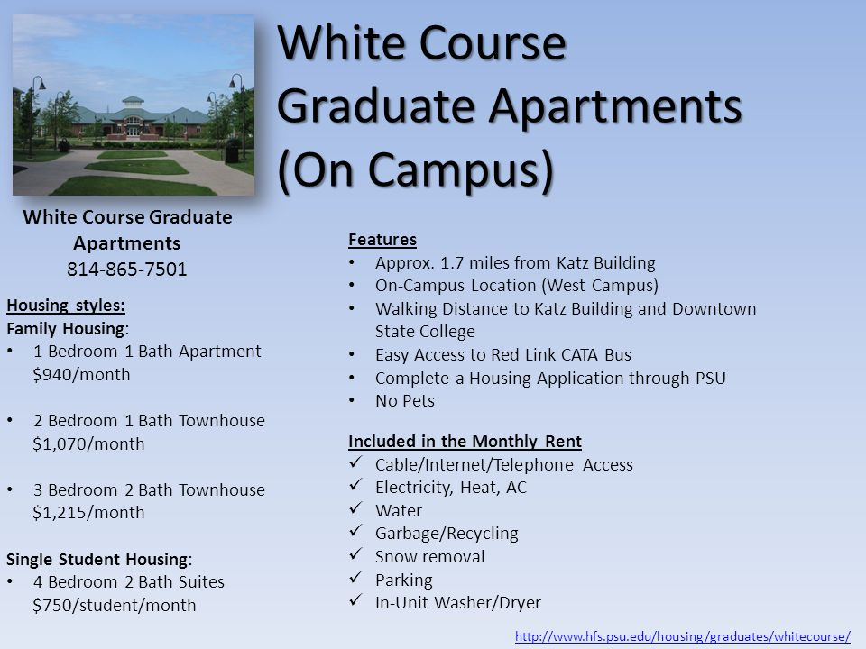 White Course Graduate Apartments (On Campus)