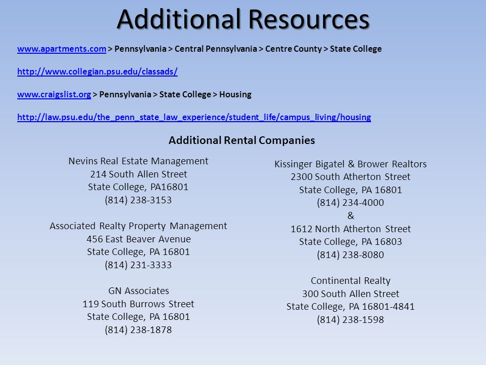 Additional Resources Additional Rental Companies
