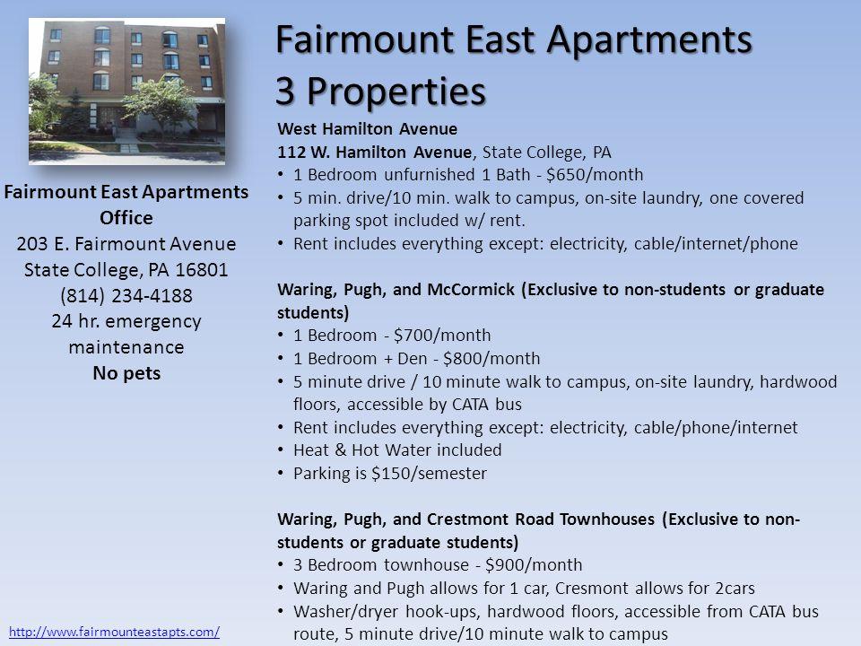 Fairmount East Apartments 3 Properties