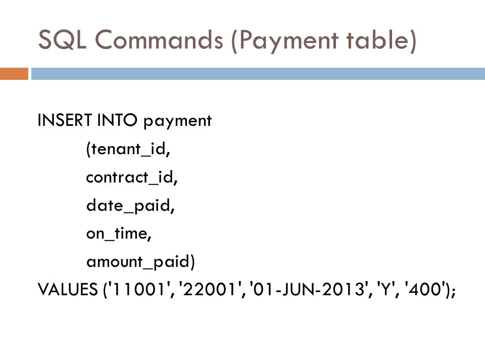 SQL Commands (Payment table)