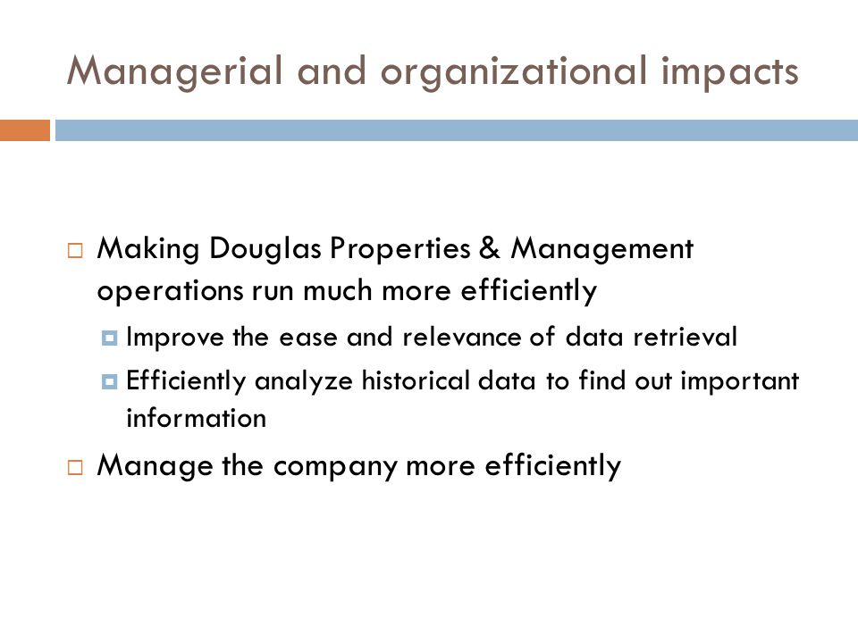 Managerial and organizational impacts