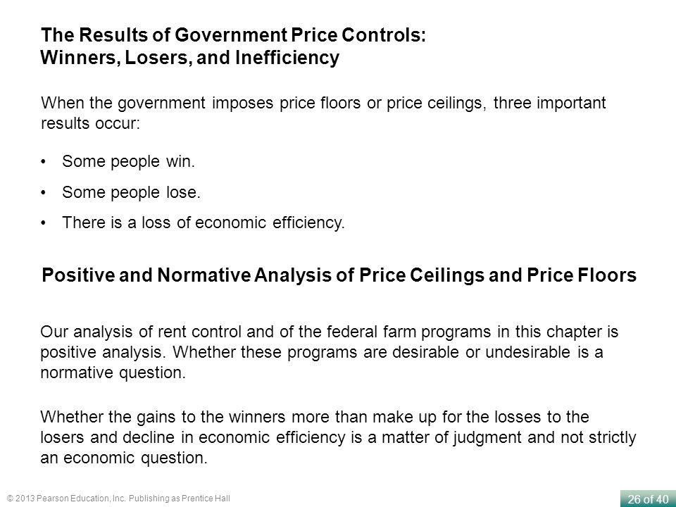 Positive and Normative Analysis of Price Ceilings and Price Floors