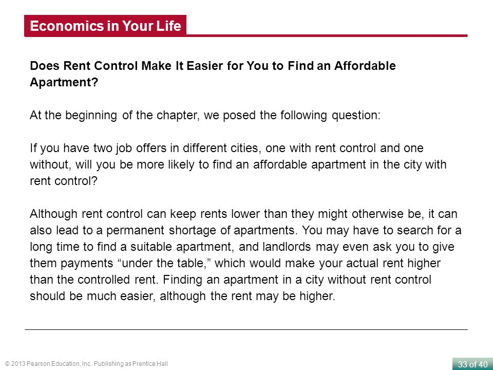 Economics in Your Life Does Rent Control Make It Easier for You to Find an Affordable Apartment