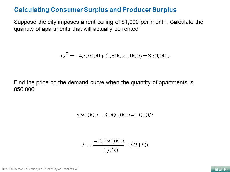 Calculating Consumer Surplus and Producer Surplus