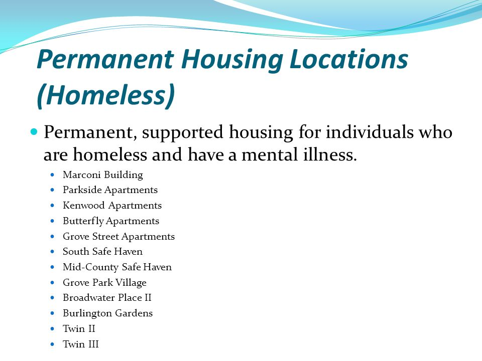 Permanent Housing Locations (Homeless)