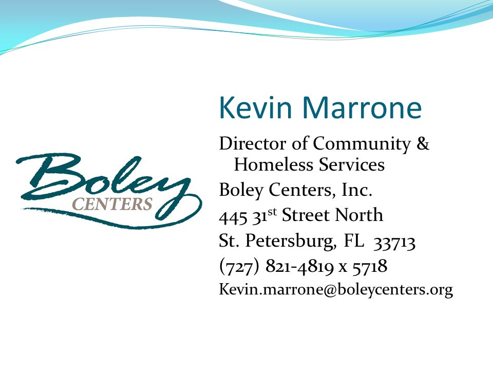 Kevin Marrone Director of Community & Homeless Services