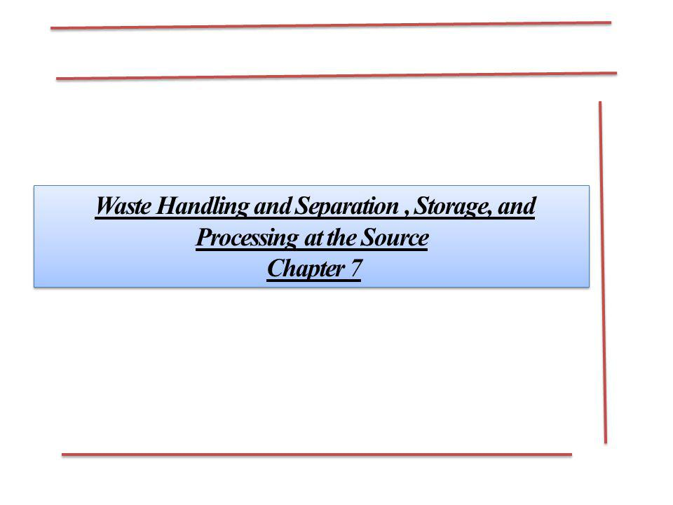 Waste Handling and Separation , Storage, and Processing at the Source