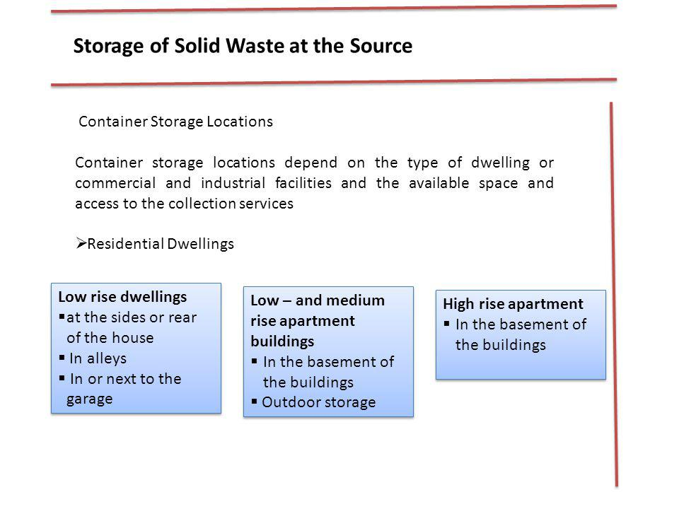 Storage of Solid Waste at the Source
