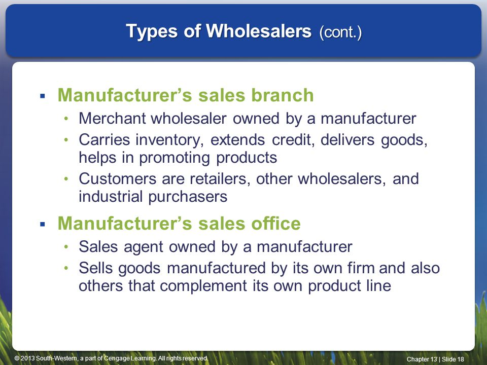 Types of Wholesalers (cont.)