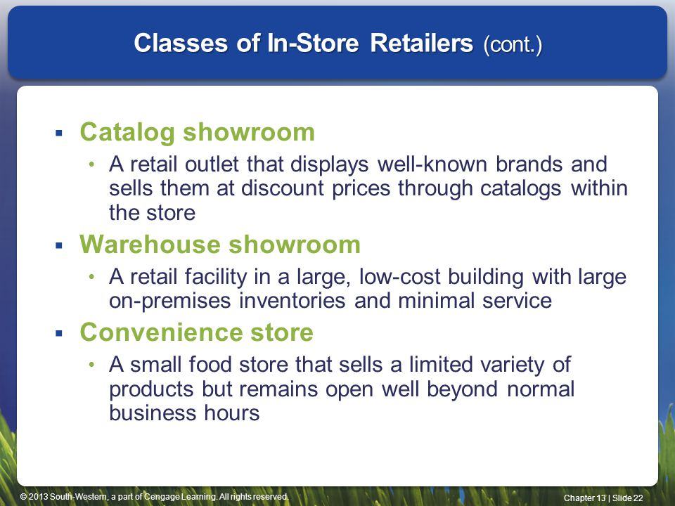 Classes of In-Store Retailers (cont.)