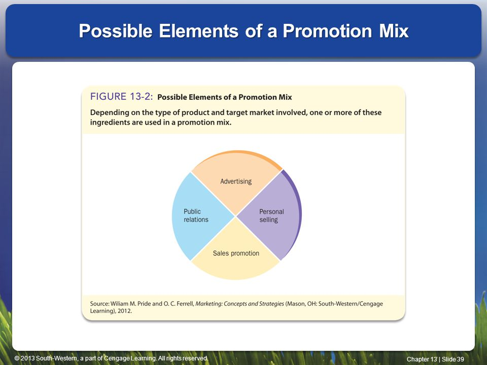 Possible Elements of a Promotion Mix