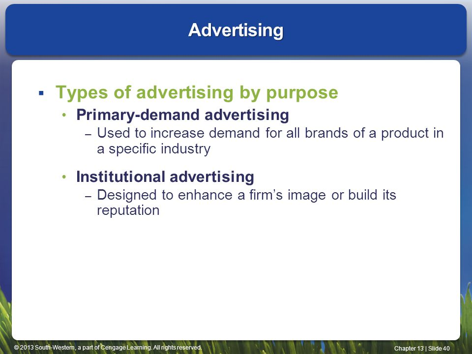 Types of advertising by purpose