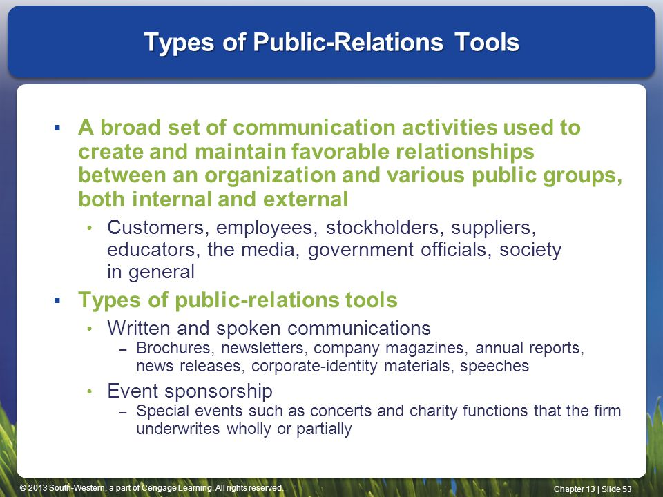 Types of Public-Relations Tools