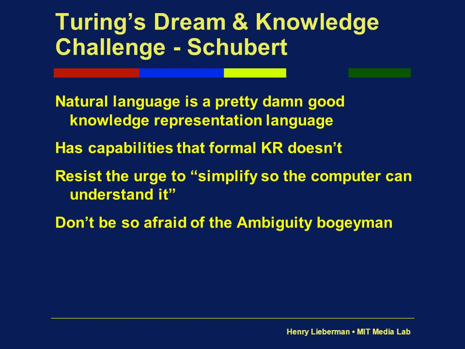 Turing's Dream & Knowledge Challenge - Schubert