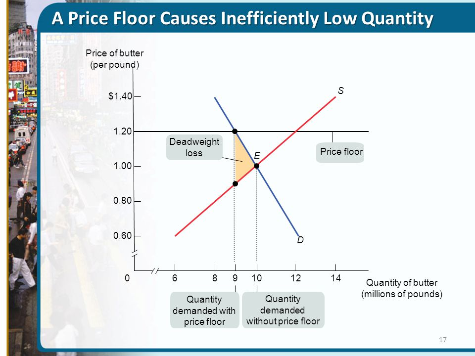 A Price Floor Causes Inefficiently Low Quantity