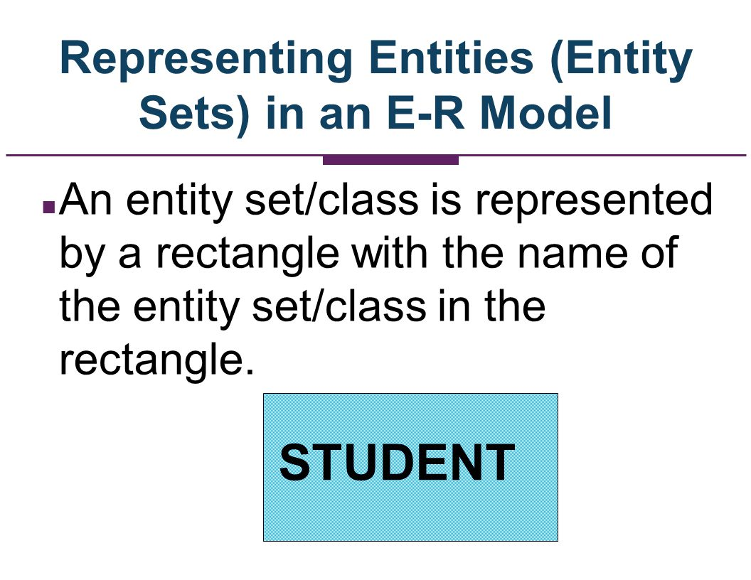 Representing Entities (Entity Sets) in an E-R Model