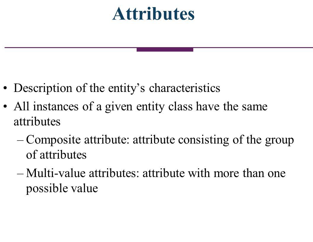 Attributes Description of the entity's characteristics