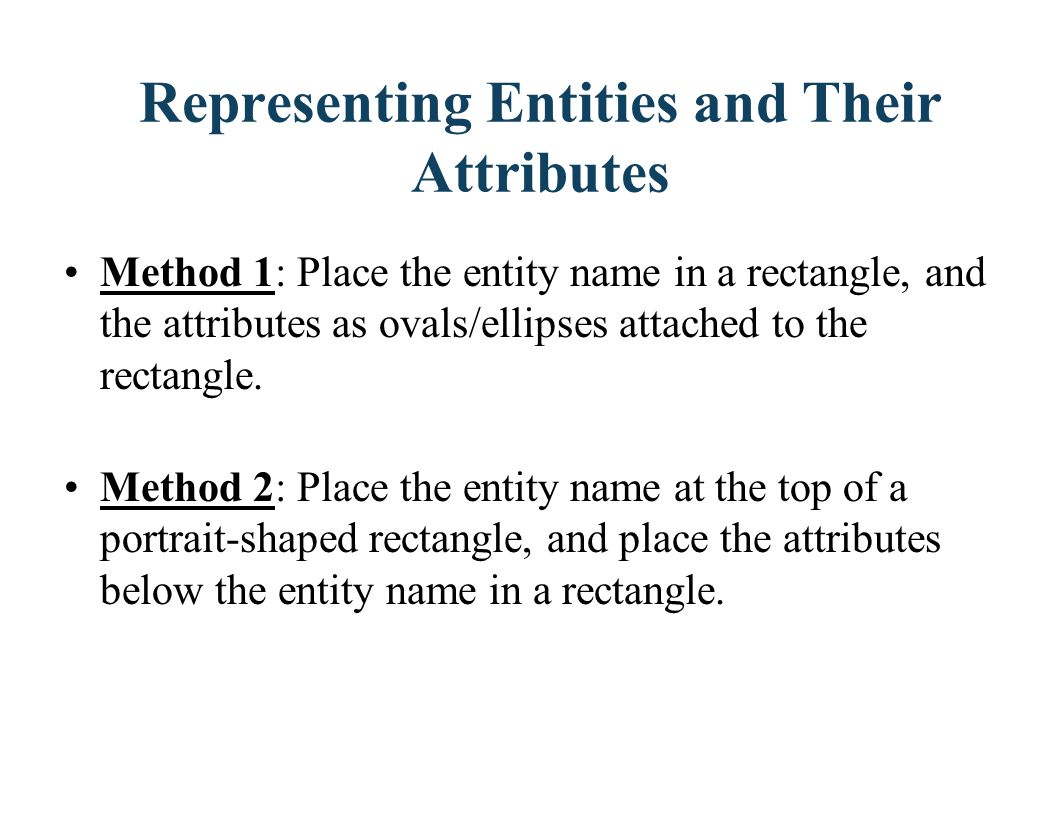 Representing Entities and Their Attributes
