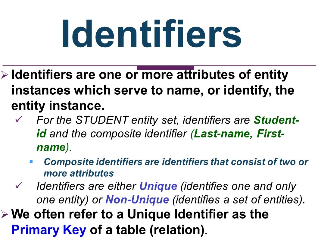 Identifiers Identifiers are one or more attributes of entity instances which serve to name, or identify, the entity instance.
