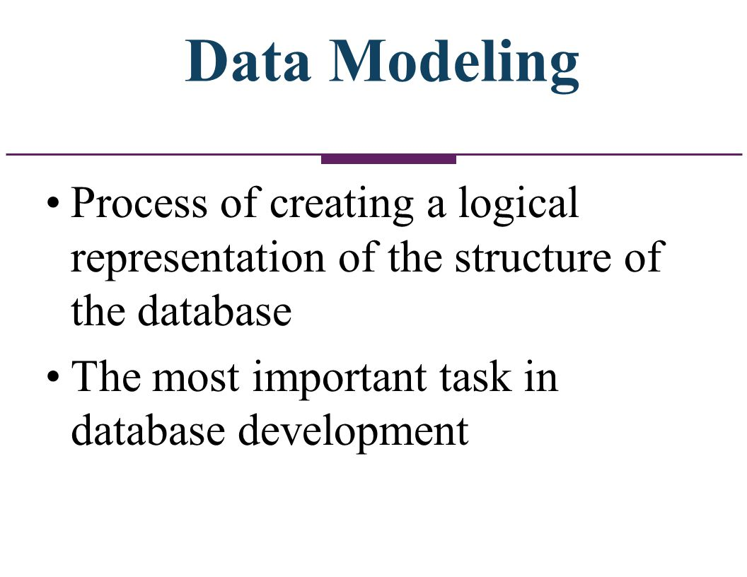 Data Modeling Process of creating a logical representation of the structure of the database.
