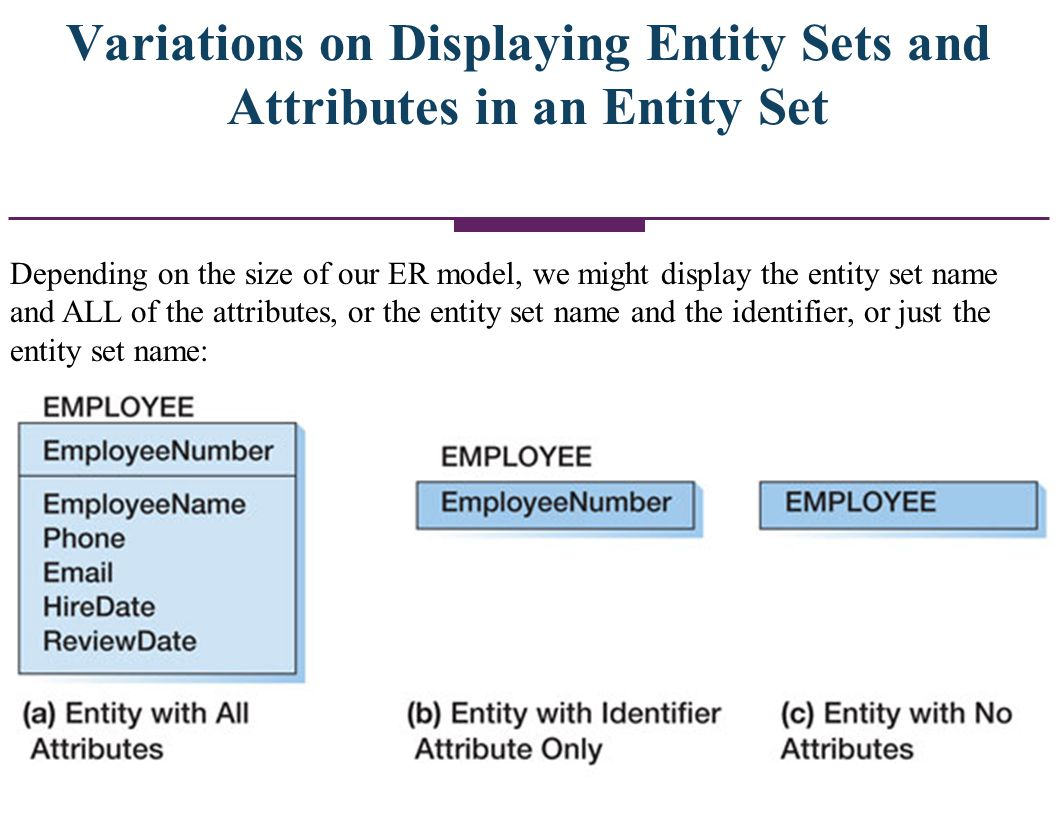 Variations on Displaying Entity Sets and Attributes in an Entity Set
