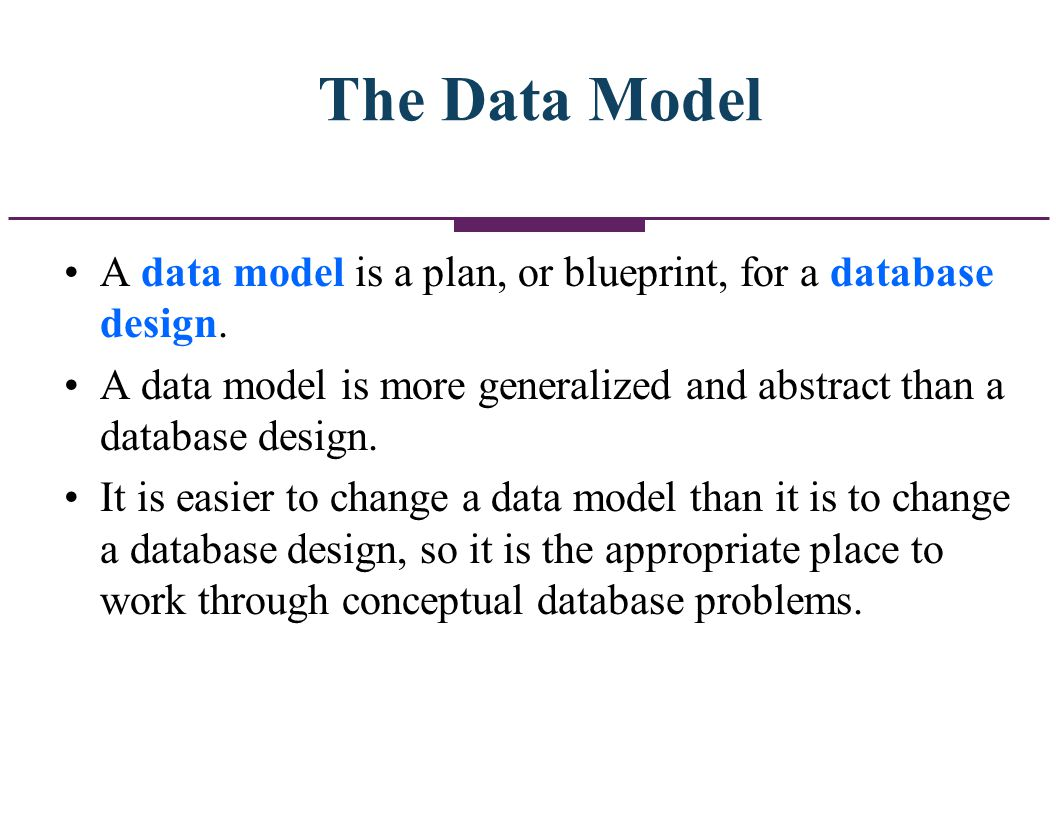 The Data Model A data model is a plan, or blueprint, for a database design. A data model is more generalized and abstract than a database design.