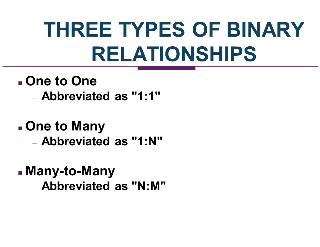 THREE TYPES OF BINARY RELATIONSHIPS
