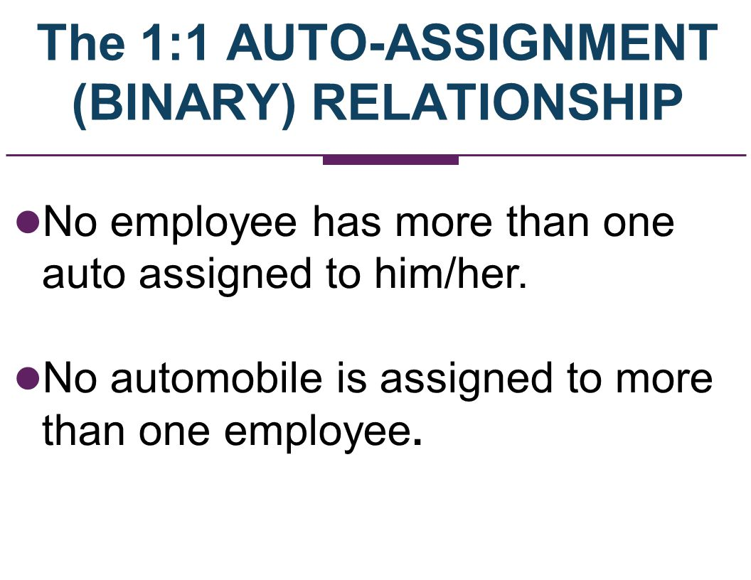 The 1:1 AUTO-ASSIGNMENT (BINARY) RELATIONSHIP