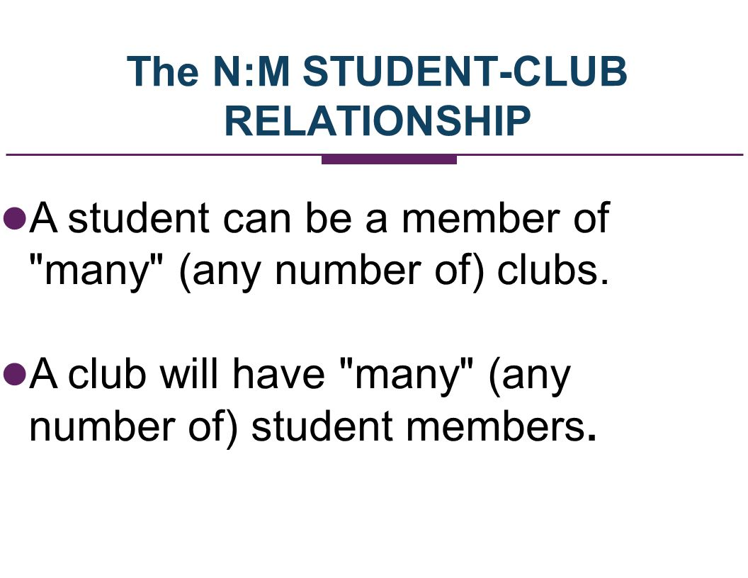 The N:M STUDENT-CLUB RELATIONSHIP