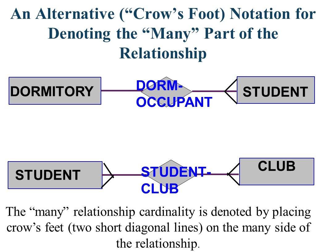 An Alternative ( Crow's Foot) Notation for Denoting the Many Part of the Relationship