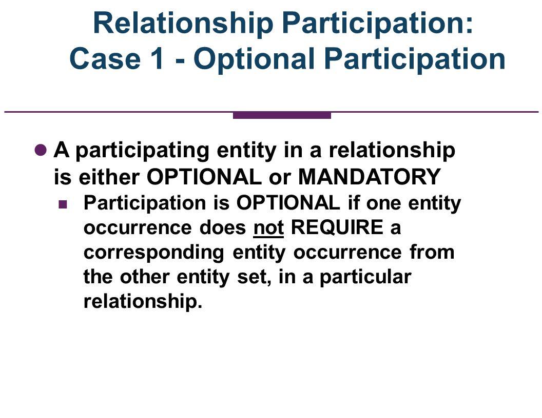 Relationship Participation: Case 1 - Optional Participation