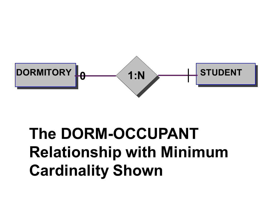 The DORM-OCCUPANT Relationship with Minimum Cardinality Shown