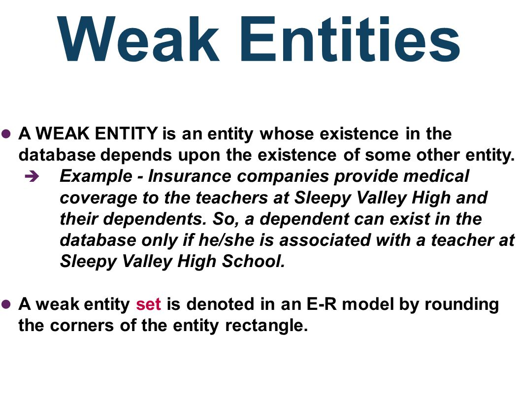 Weak Entities A WEAK ENTITY is an entity whose existence in the database depends upon the existence of some other entity.