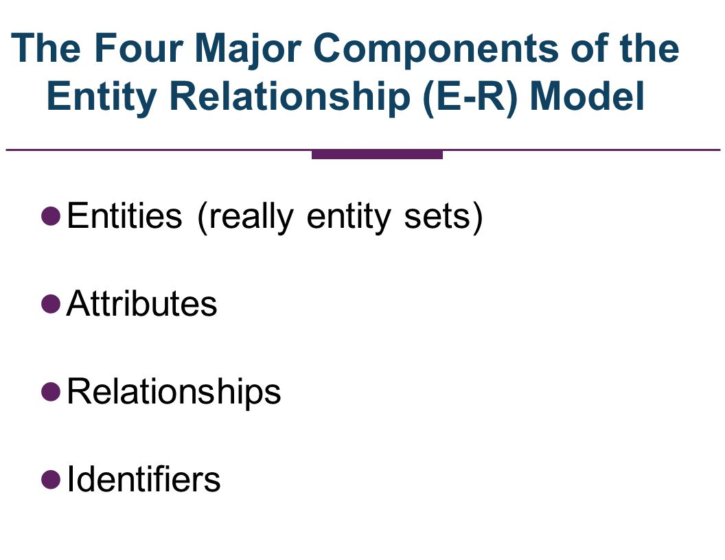 The Four Major Components of the Entity Relationship (E-R) Model