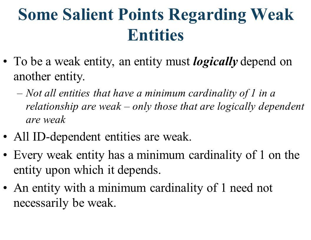 Some Salient Points Regarding Weak Entities